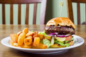 beef burger with chunky chips