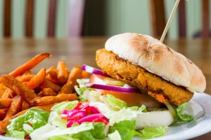 crispy chicken burger with skinny fries